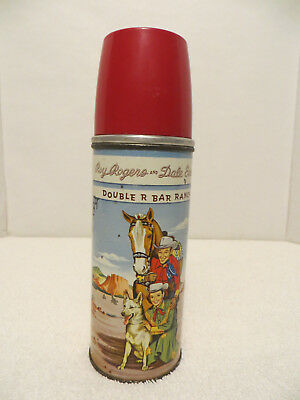 Vintage ROY ROGERS and DALE EVANS THERMOS; Double R Bar Ranch; Bright Litho