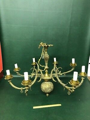 Antique French / Spanish Solid Bronze Chandelier 8 Lights 35""