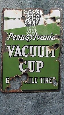 "Early 1900's Pennsylvania Vacuum Cup Tire Sign 22"" x 16"" Porcelain Original"