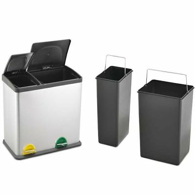 35L Stainless Steel 2 - Compartment Large Recycle Pedal Bin Recycling (12L+23L)