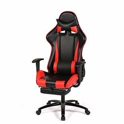 RC1 Office Gaming Chair Racing Seats Computer Chair w/ Footrest-Red