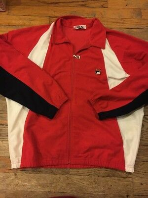 Vintage 80's Fila Sports & Track Suit & Pants, Red White Made In Italy. Small