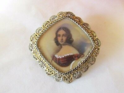 vintage pin / brooch / pendant     hand painted?  possibly a mourning piece???