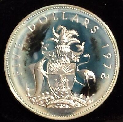 Bahamas 42+ Grams Sterling 5 Dollar 1972 Limited mintage of 35K proofs Argent
