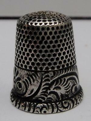 Antique Sterling Silver THIMBLE by Ketchum & McDougal with Swirling Ferns Band