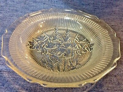 Depression Glass Flat Soup In Iris And Herringbone Pattern ~ Charming Bowl!