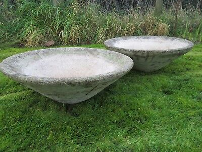 Pair Of Old Vintage Large Conical Concrete Garden Planters Tubs