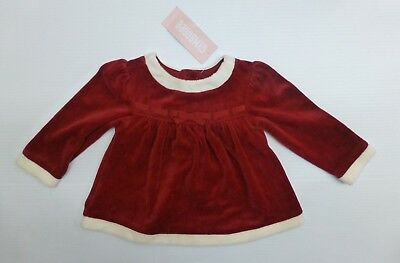 Gymboree Baby Girls Size 12-18 M Red Velour Christmas Dress New With Tags
