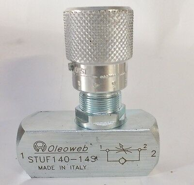 "Hydraulic Oil Flow Control ReverseFlow Check Valve 1/4"" BSP Ports400Bar 6000 PSI"