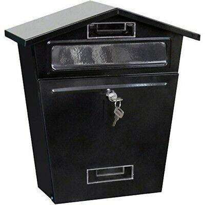 Large-Outdoor-Steel-Lockable-Mailbox-Postbox-Letter-Mail-Post-Box Lock Black