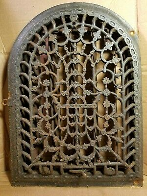 Antique Cast Iron Arch Top Decorative Dome Heat Grate Wall Register 9x12 Working