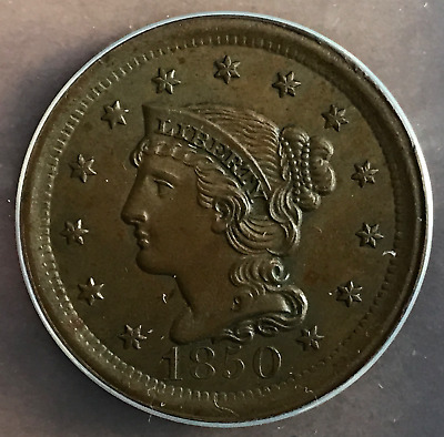 1850 1c Braided Hair One Cent ANACS MS62 BRN