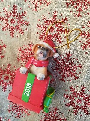 Boxer Uncropped Ears Dog  Gift Box Holiday Christmas ORNAMENT