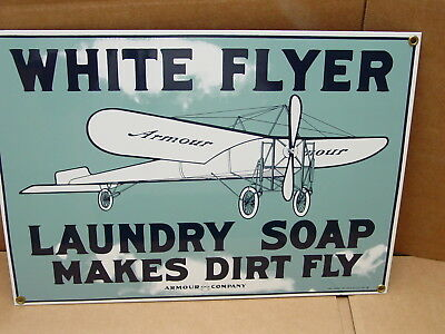 Vintage Heavy Porcelain Sign White Flyer Laundry Soap Maks Dirt Fly Armour Co.