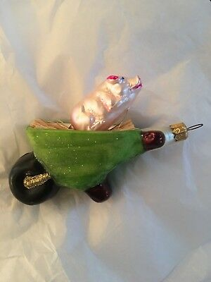Christopher Radko Christmas Ornament- Wheelbarrow Filled Hay And A Pig