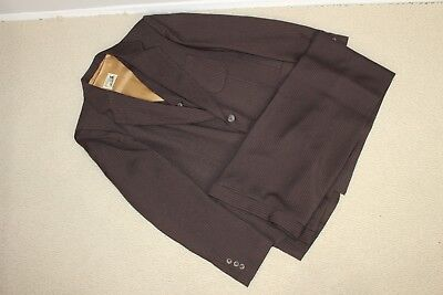 vtg 70s ANGELS FLIGHT 3-pc brown pinstripe mens vintage suit pants jacket vest