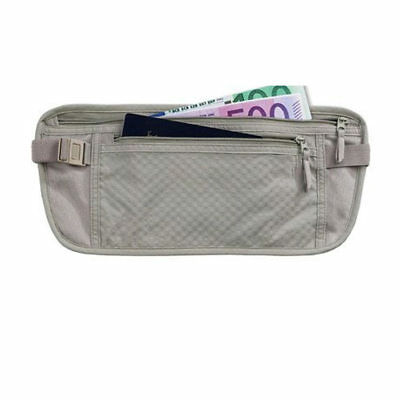 1Pc Money Belt Pouch Hidden Travel Wallet Passport ID Holder Secure Khaki Unisex