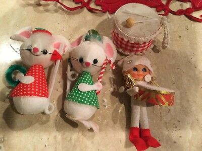 Vintage Flocked Hollow Plastic Christmas Ornaments Mice Drummer Lot of 4 Japan