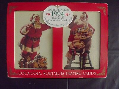 1994 LE Coca-Cola Santa / Christmas Playing Cards in Collectible Tin - New