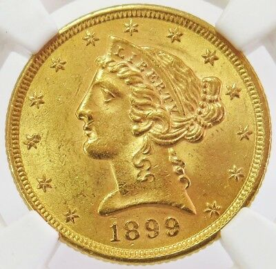 1899 Gold United States $5 Liberty Head Half Eagle Coin Ngc Mint State 63