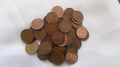 CANADIAN PENNY PENNIES USED LOT of 51