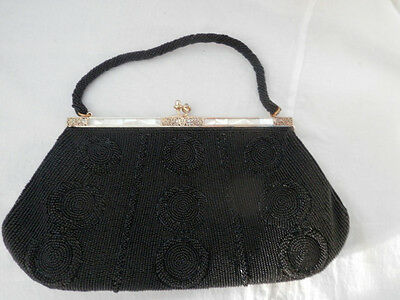 Rare Vintage Delill Handmade Black Beaded Evening Clutch  Mother of Pearl Inlay