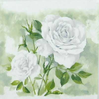 4x Paper Napkins -Rose Boutique white- for Party, Decoupage Craft