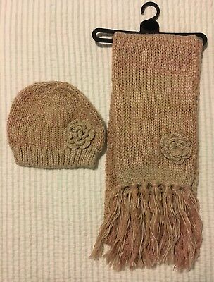 Women's BN George Beige And Rose Pink Knitted Scarf And Hat Set One Size