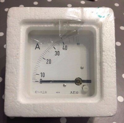 AEG 96x96 DIn Ammeter Panel Meter. Range scale 0 - 40A 90° scaling