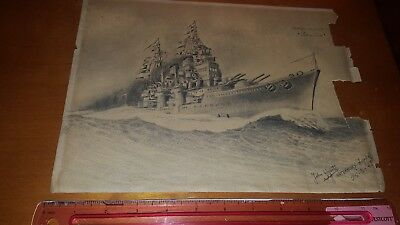 Unique Pencil Sketch Of Spain Cruiser Sevilla Signed John Ugarte 1948 Look!