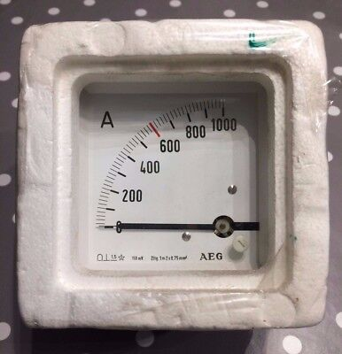 AEG 96x96 DIn Ammeter Panel Meter. Range scale 0-1000A 90° scaling