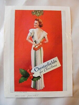 1937 CHESTERFIELD Cigarette Print Ad CHESTERFIELD FOR CHRISTMAS