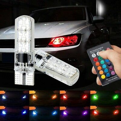 x2 RGB T10 LED with Remote Colour Changing Car Strobe Flash Multi Colour Lights