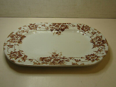 "Antique Moore Leason & Company Brown Transferware Platter 15"" Long"