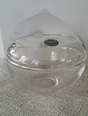 LENOX CRYSTAL  WITH FROSTED DOLPHIN COVERED BOWL NEW in box