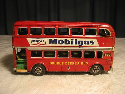 """Vintage Japan Tin Litho Friction Toy Double Decker Bus Mobil Gas & Shell 8 1/4"""""""