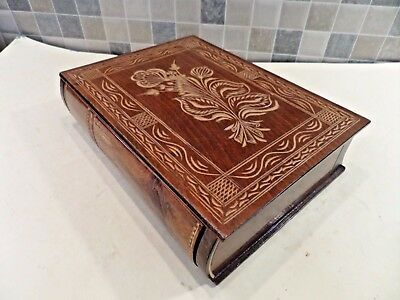 Vintage Hand Carved Puzzle Opening & Closing Secret Book Box With Hidden Drawer