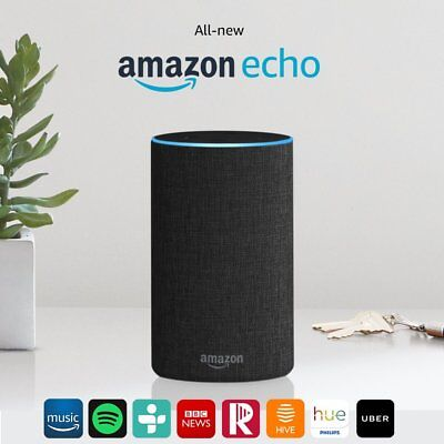 All new Amazon Echo Alexa Black/Charcoal Fabric works with iOS Android 2nd Gen