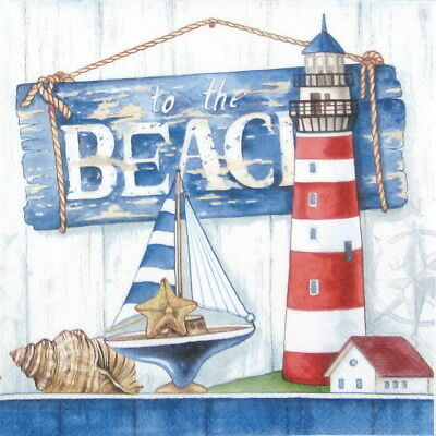 4x Paper Napkins - To the Beach - for Party, Decoupage Craft