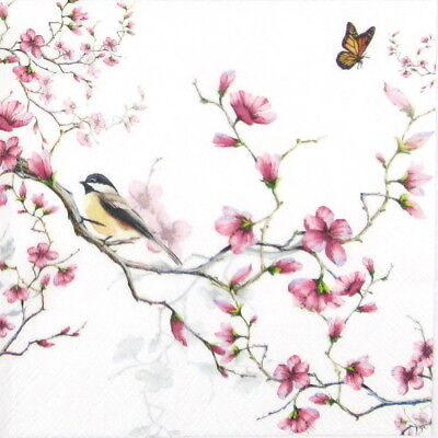 4x Paper Napkins - Bird & Blossom White - for Party, Decoupage Craft