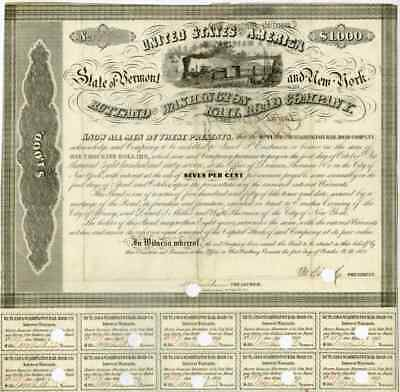 1852 Rutland & Washington RR bond signed by E. Corning