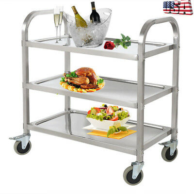 3Tier Stainless Steel Serving Cart Kitchen Food Catering Rolling Utility Trolley