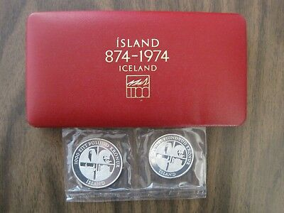 1974 Silver Proof Iceland 1000-500 Kronur 2 Coin Box Set