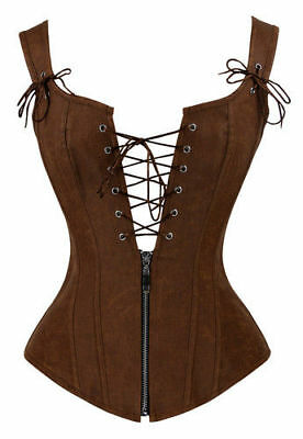 Retro Victorian Renaissance Lace Up Zipper Boned Bustier Garter Corset Costume