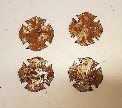"""Lot of 4 Maltese Cross Shapes 3"""" Rusty Metal Vintage Craft Sign Fire Fighter"""