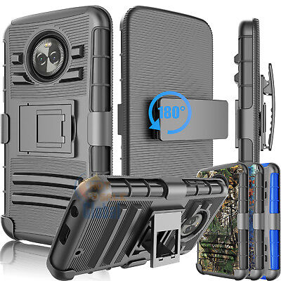 For Motorola Moto X4 Belt Clip Holster Armor Impact Hard Case Cover W/ Kickstand