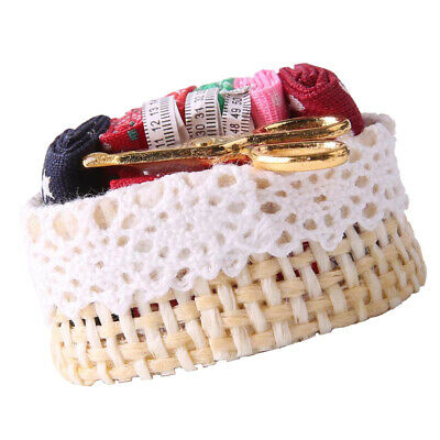 1/12 Dolls House Miniature Sewing Basket with Mixed Fabric and Accessories