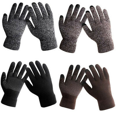 Men Male Winter Warm Fleece Lined Thermal Knitted Gloves Touchscreen for Phone