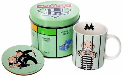 """Monopoly - Mug and Coaster in Tin Storage Gift Set """"Go Directly to Jail"""""""