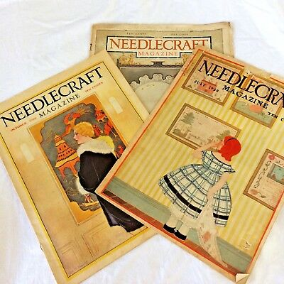 REDUCED Lot of 3 1920s Gorgeous Antique Vintage Needlecraft Magazines LOVELY ADS
